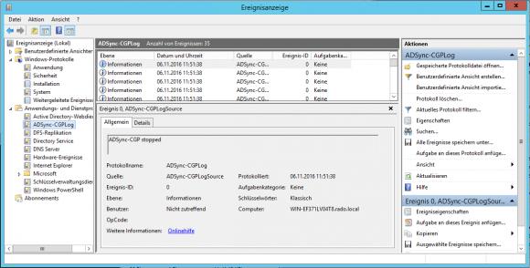 Probleme des Synchronisationsdienstes lassen sich über die Windows-Ereignisanzeige aufspüren.