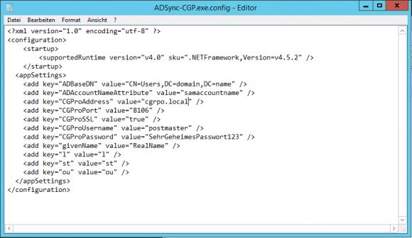 Der Dienst wird über eine simple XML-Datei konfiguriert.