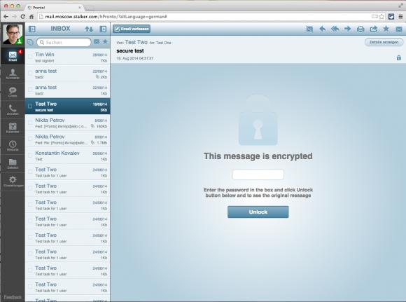 Web-Mail im HTML5-Client Pronto! Lite inklusive sicherer Verschlüsselung.