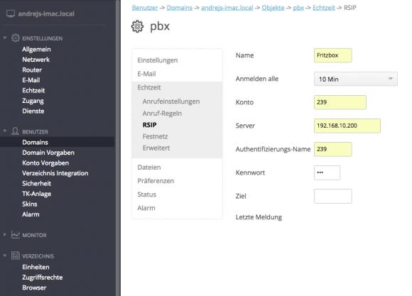 SIP-Konfiguration des CommuniGate Pro Users
