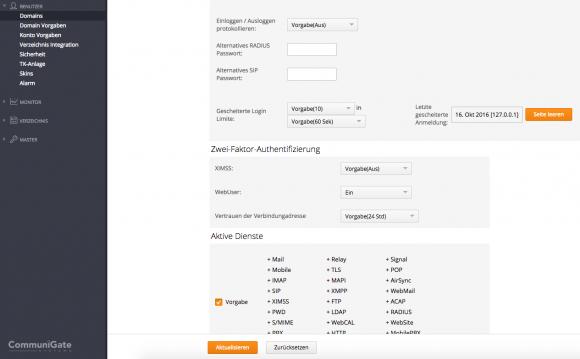 CommuniGate Pro erlaubt nun Zwei-Faktor-Authentifizierung.