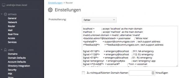 Die Routing-Tabelle kann nun auch Domain-Einträge für das Blacklisting von XMPP-Spammern aufnehmen.