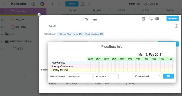 Der Gruppen-Kalender von CommuniGate Pro verfügt auch über ein ausgefeiltes Free-/Busy-Scheduling.