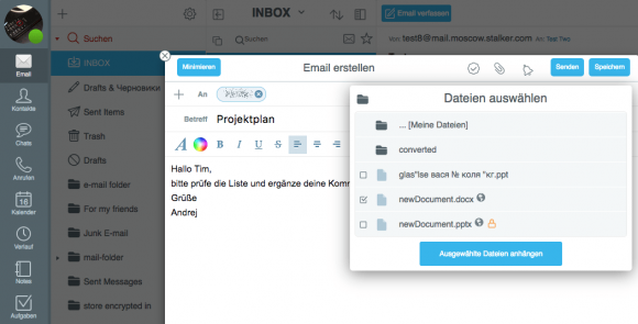 In CommuniGate Pro kann man direkt auf die gespeicherten Office-Dateien zugreifen und diese per Mail als Anhang versenden.