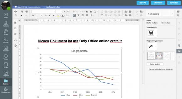 Onlyoffice erlaubt ein komfortables Bearbeiten von Office-Dokumenten, die Bedienung orientiert sich an MS Office.