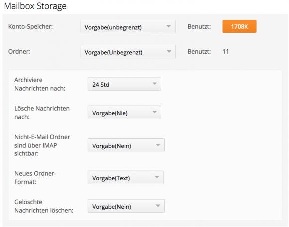 CommuniGate Pro kann Mails nach einem bestimmten Zeitraum automatisch in ein Archiv verschieben.