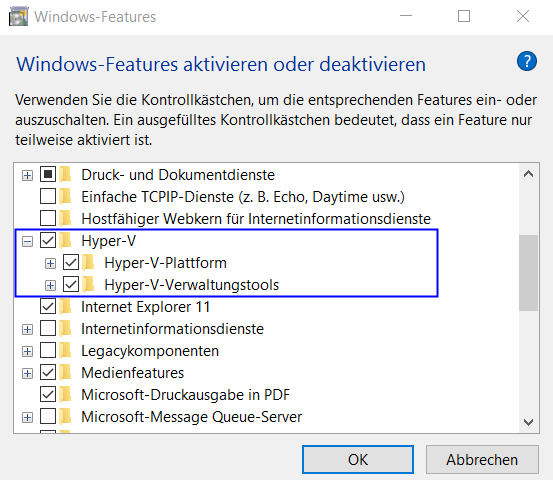 Aktivierung von Hyper-V in Windows 10