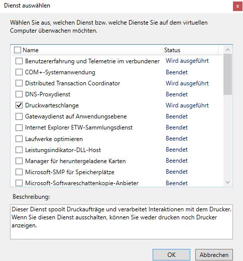 Über die GUI lassen sich nur Dienste mit einem eigenen Prozess auswählen.