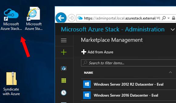 Admin-Portal von Azure Stack unter der agegebenen URL öffnen.