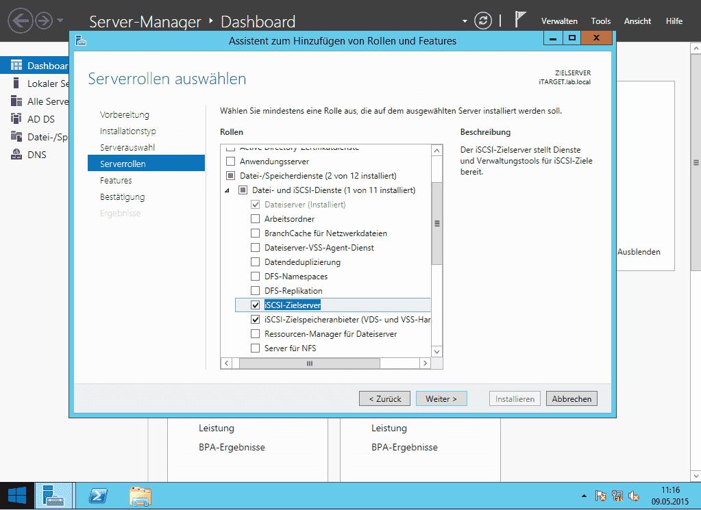 Windows Server 2012 R2 als iSCSI-Target konfigurieren ...