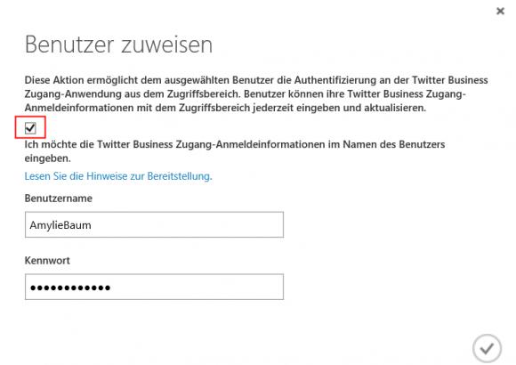 Zugangsdaten für die App in Azure AD speichern.