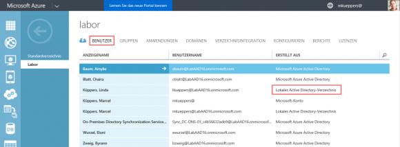 Die Benutzerverwaltung weist die User des lokalen AD aus.