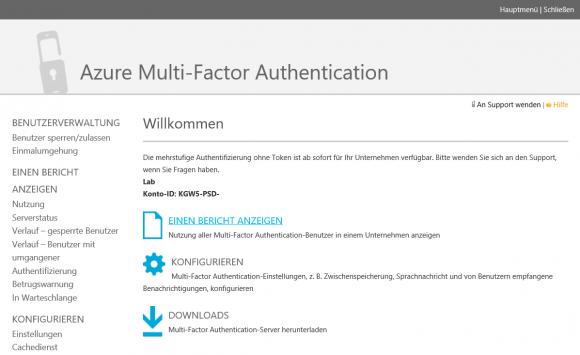 Das PhoneFactor Azure Multi-Faktor-Authentifizierungsportal