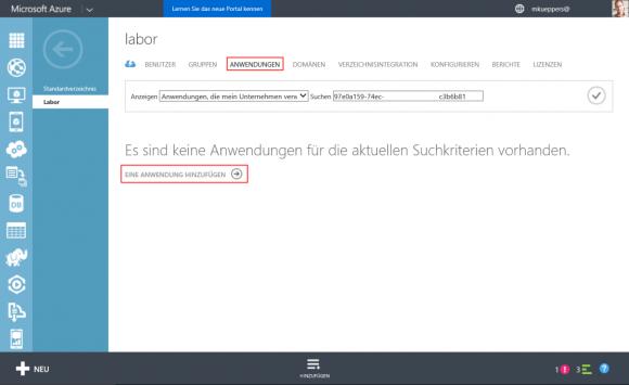 Der Azure AD-Administrator fügt Cloud-basierte Apps über das Portal hinzu.