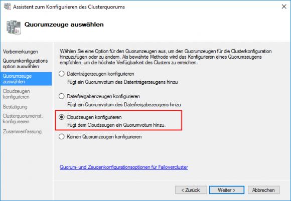 Über den Failovercluster-Manager erreicht man die Quorum-Konfiguration.