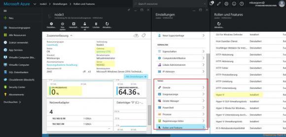 Leistungsdaten und Konfigurationsmöglichkeiten aus der Azure-Webkonsole.