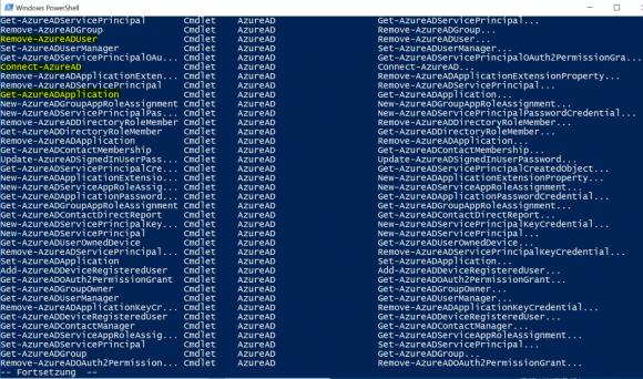 Liste der Cmdlets im Modul für Azure AD mit Get-Help anzeigen.
