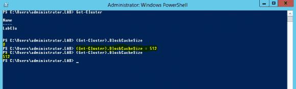 Konfiguration des CSV Block Cache mit Hilfe von PowerShell.