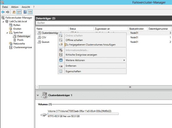 Im Failovercluster-Manager erstellt man CSV mit dem Befehl 'Zu freigegebenen Clustervolumes hinzufügen'.