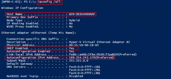 Ein ipconfig liefert eine APIPA-Adresse