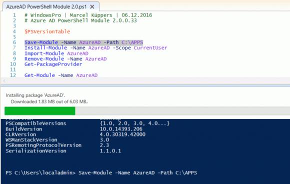 Modul für Azure AD mit NuGet herunterladen und installieren.