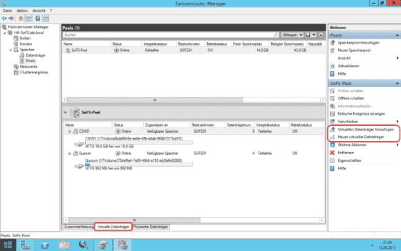 Über den Failovercluster-Manager erreicht man die Speicherkonfiguration der Storage Spaces.
