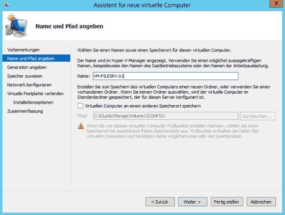 Erstellen einer hochverfügbaren virtuellen Maschine mit Ablage auf CSV