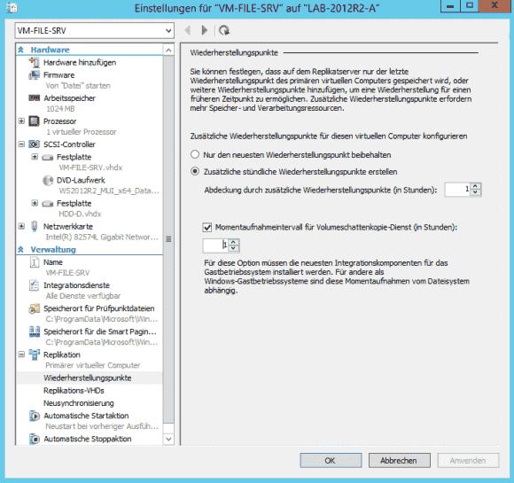 Neben standardmäßigen Wiederherstellungspunkten kann man zusätzlich applikationskonsistente Schattenkopien erstellen.