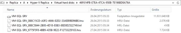 HRL- und HRU-Dateien liegen bei Server 2012 R2 im Verzeichnis des replizierten VHD(X) Laufwerkes.