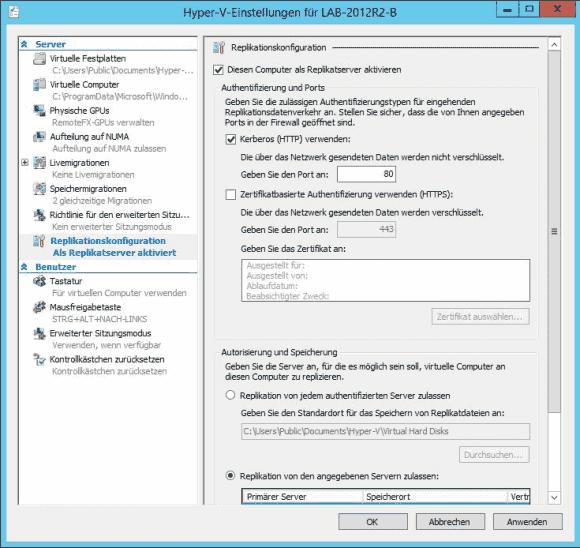 Ein Host wird in den Einstellungen von Hyper-V als Replikatserver konfiguriert.