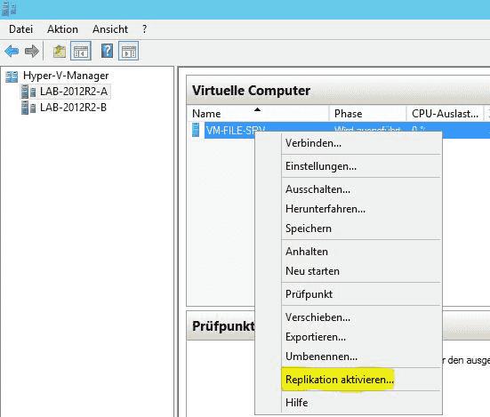 Über den rechten Mausklick auf die entsprechende VM beginnt der Konfigurationsprozess.