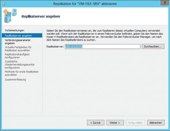 Für jede VM lässt sich einer der zuvor eingerichteten Replikat-Server als Ziel auswählen.