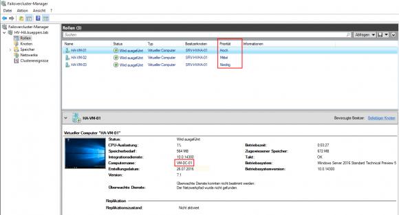 Einfache Priorisierung von VMs im Failovercluster-Manager
