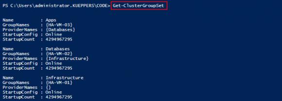 Abhängigkeiten für die Startreihenfolge anzeigen mit Get-ClusterGroupSet