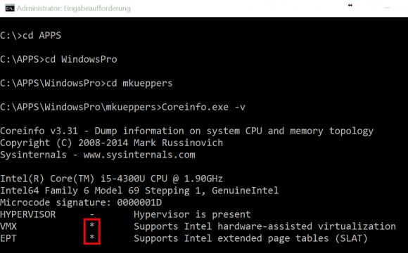Systemanforderungen an die CPU prüfen mit Coreinfo