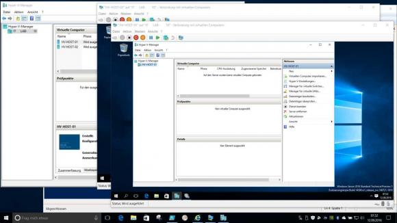 Verschachtelte Virtualisierung: Windows 10 als Grundlage, Windows Server 2016 mit zweiter Hyper-V Ebene.