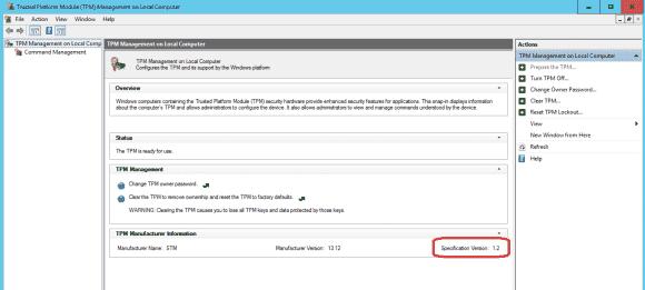 TPM.msc (Management Konsole) zeigt den Status, wenn der TPM im UEFI aktiviert ist.