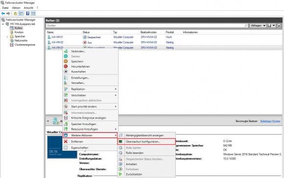 Im Failovercluster-Manager wird über das Kontextmenü der VM die Überwachung aktiviert.