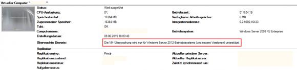 Das Gastbetriebssystem muss mindestens Windows Server 2012 sein.