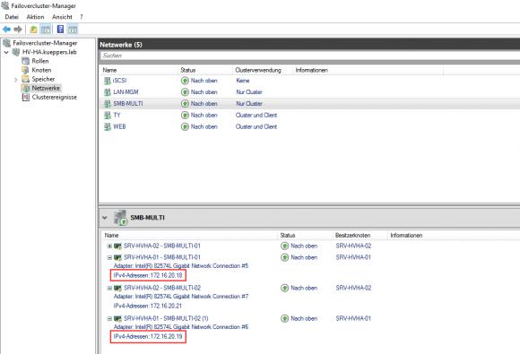 Der Failovercluster-Manager zeigt die Netzwerkkarten für SMB im gleichen Netzwerk.