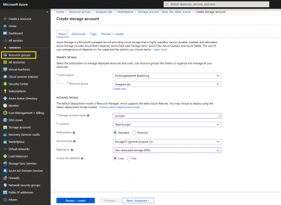 Speicherkonto im Azure-Portal erstellen