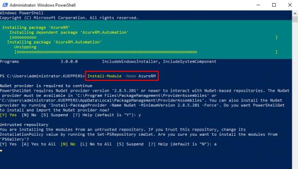AzureRM Modul installieren
