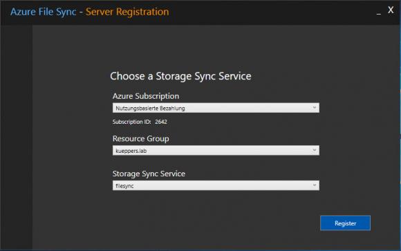 Auswahl des Storage Sync Service in Azure