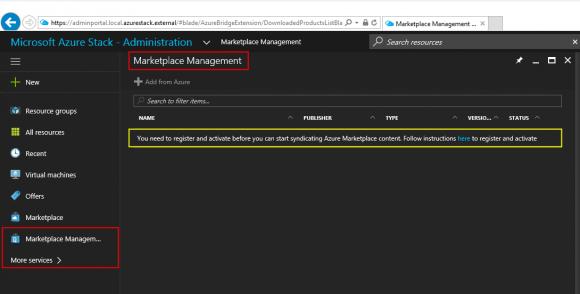 """Der Link """"Add from Azure"""" ist ausgegraut (deaktiviert), da eine Syndication noch nicht besteht."""
