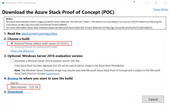 Azure Stack POC Downloader. Stand: TP3