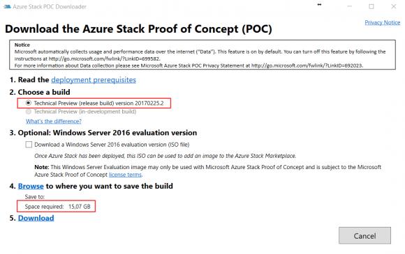 Azure Stack POC Downloader. Stand: TP3