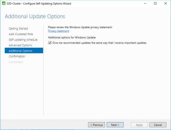 Die zusätzliche Option für den Bezug empfohlener Updates
