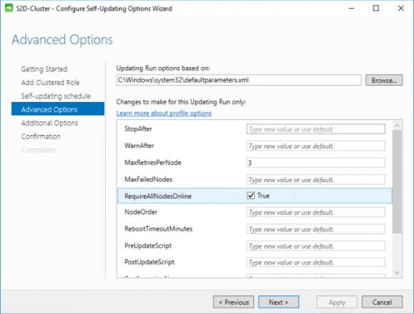 Erweiterte Optionen bei der Konfiguration des Cluster-Aware Updating