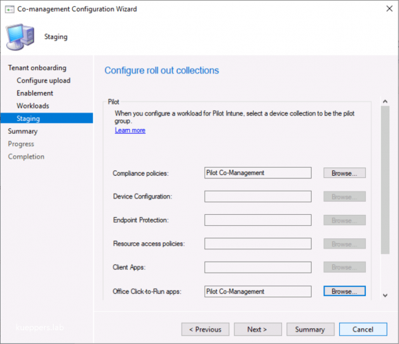 Select Configuration Manager Collections (here: for piloting). Deployments are then applied.