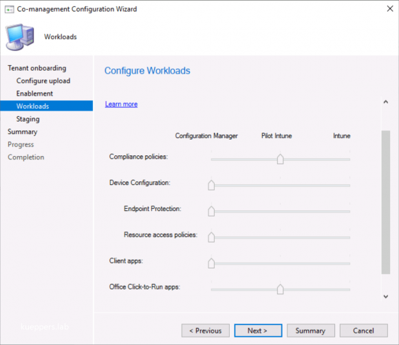 Move workloads only for piloting or productive to Intune
